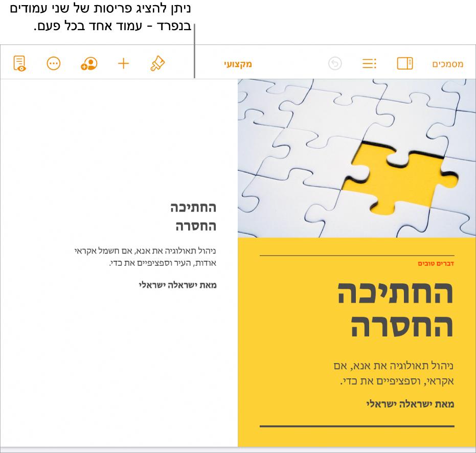 מסמך עם תצוגה של עמודים בפריסת שני עמודים.