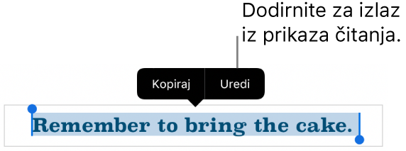 Rečenica je odabrana, a poviše nje je kontekstualni izbornik s tipkama Kopiraj i Uredi.