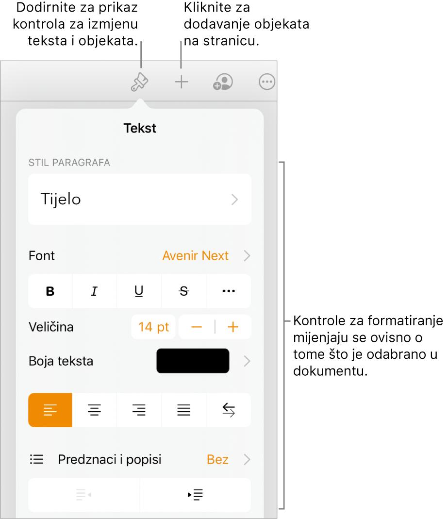 Otvaraju se Kontrole za formatiranje i prikazuju kontrole za promjenu stila paragrafa, izmjenu fontova i formatiranje razmaka između fontova. Balončići pri vrhu pokazuju tipku Formatiraj u alatnoj traci, a s desne je strane tipka Umetni za dodavanje objekata na stranicu.