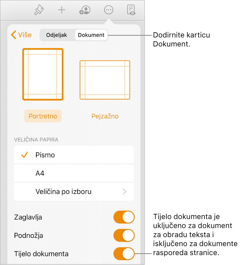 Kontrole formata Dokumenta s uključenim Tijelom dokumenta u blizini zaslona.