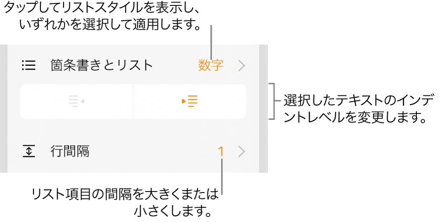 「箇条書きとリスト」メニューのコールアウトが表示された「フォーマット」コントロール、インデントボタン、行間隔コントロール。