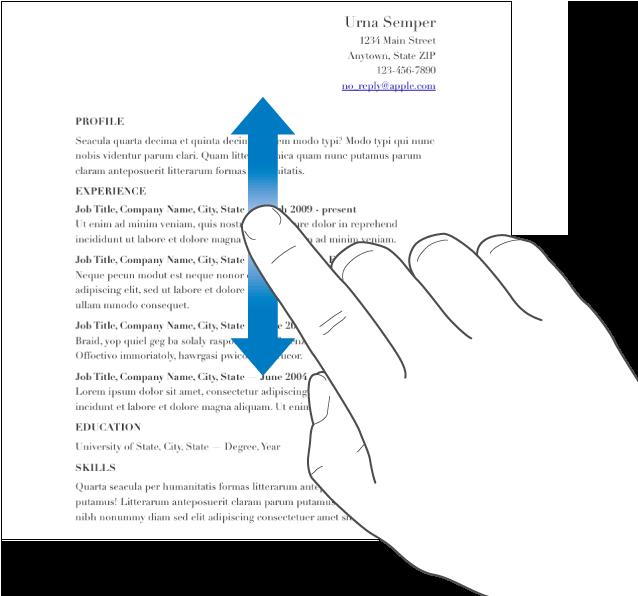 書類内を上下にスワイプしている指。