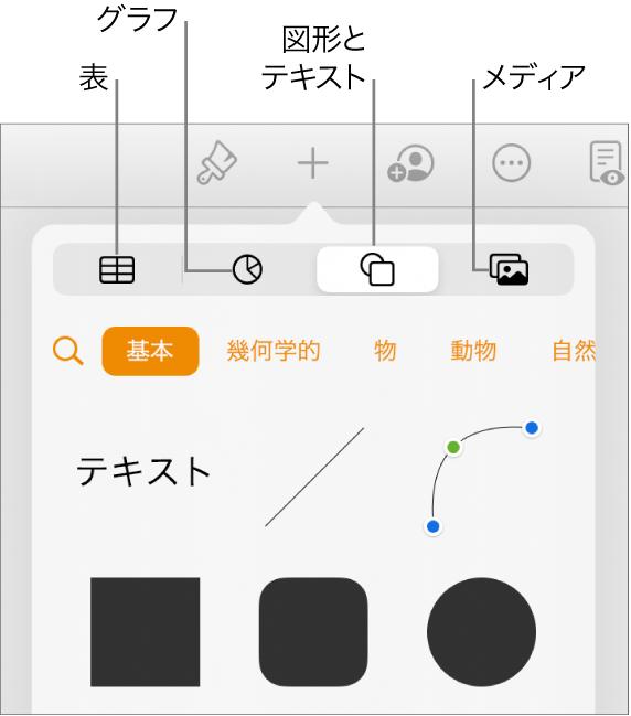 オブジェクトを追加するコントロール。表、グラフ、図形(線やテキストボックスを含む)、およびメディアを選択するためのボタンが上部に表示された状態。