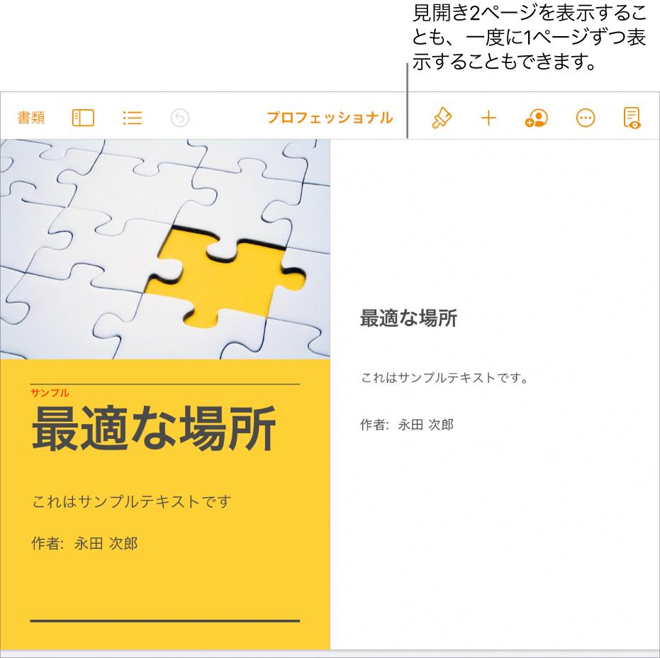 ページが見開き2ページとして表示されている書類。