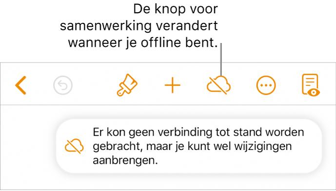 De knoppen boven in het scherm, met de knop voor samenwerken die is veranderd in een wolk met een schuine streep. De volgende melding staat op het scherm: 'Je bent offline, maar je kunt nog wel wijzigingen aanbrengen.'