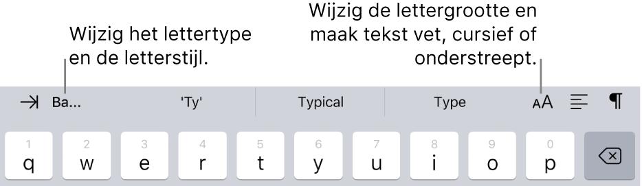De tekstopmaakknoppen boven het toetsenbord met van links naar rechts: inspringen, lettertype, drie velden met tekstsuggesties, lettergrootte, uitlijning en invoegen.