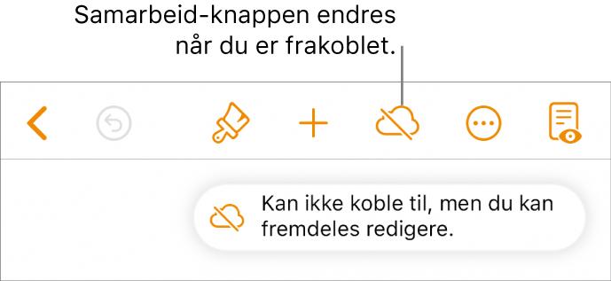Knappene øverst på skjermen, med Samarbeid-knappen endres til en sky med en diagonal linje gjennom. Et varsel på skjermen sier «Du er frakoblet, men kan fremdeles redigere.»