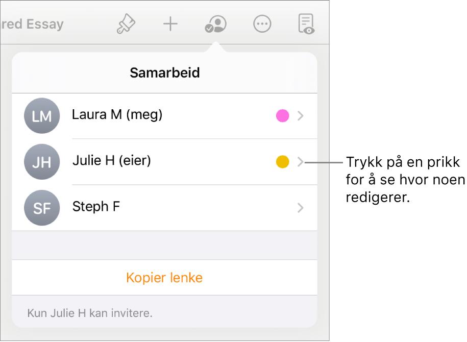 Deltakerlisten med tre deltakere og prikker med ulike farger til høyre for hvert navn.