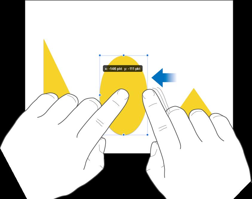 Én finger som holder et objekt samtidig som en annen finger sveipes mot objektet.