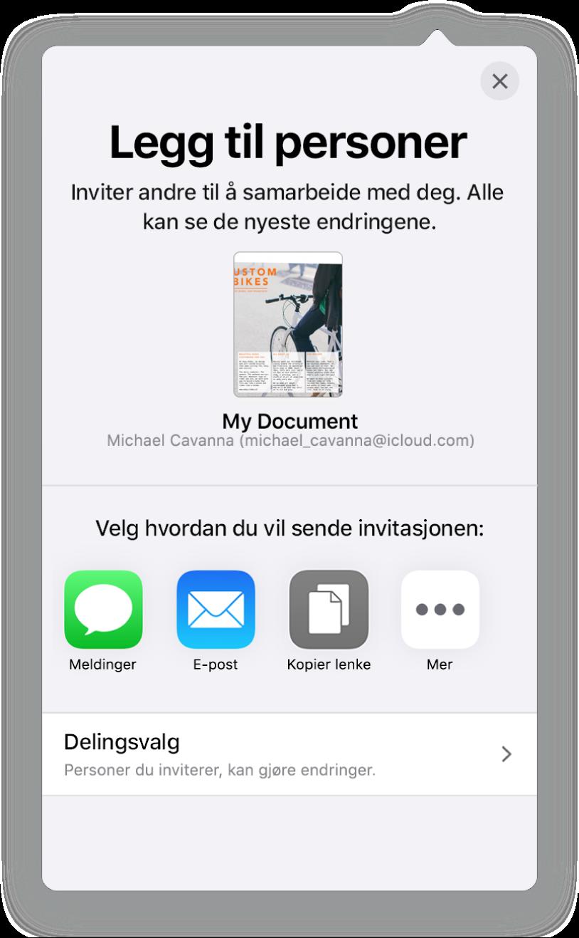 Legg til personer-skjermen som viser et bilde av dokumentet som skal deles. Nedenfor er knapper for måter å sende invitasjonen på, blant annet Mail, Kopier lenke og Mer. Delingsvalg-knappen er nederst.
