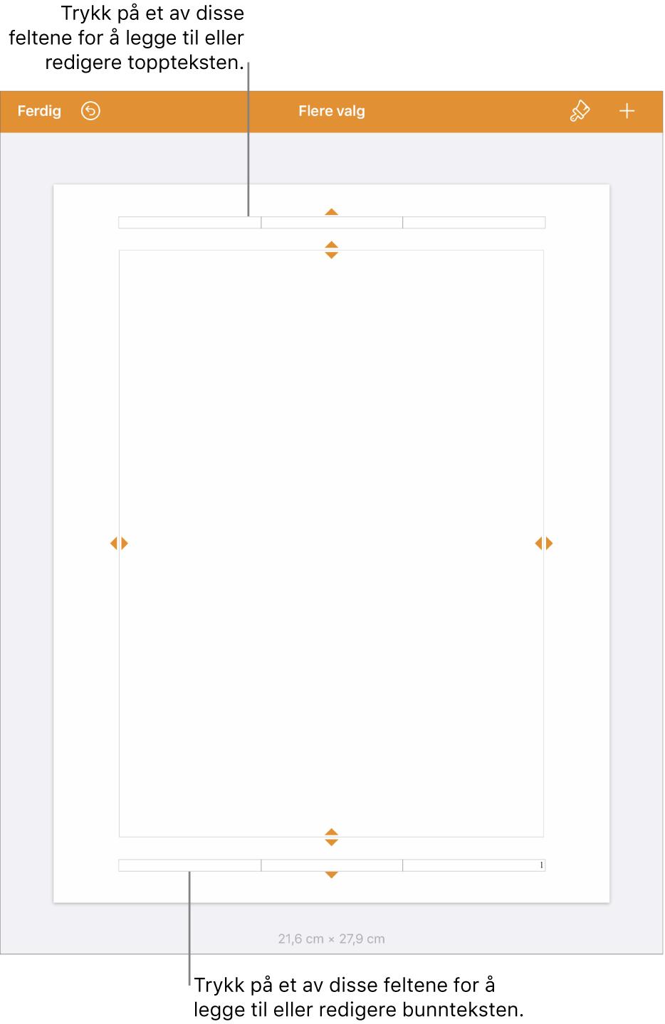 Flere valg-visningen med tre felter øverst i dokumentet for topptekster og tre felter nederst for bunntekster.