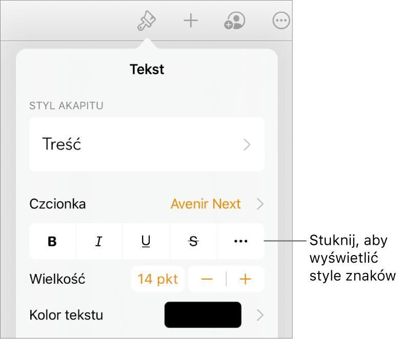 Narzędzia formatowania. Na samej górze widoczne są style akapitu, aponiżej znajdują się narzędzia czcionki. Pod narzędziami czcionki widoczne są przyciski Pogrubienie, Kursywa, Podkreślenie, Przekreślenie oraz Więcej opcji tekstu.