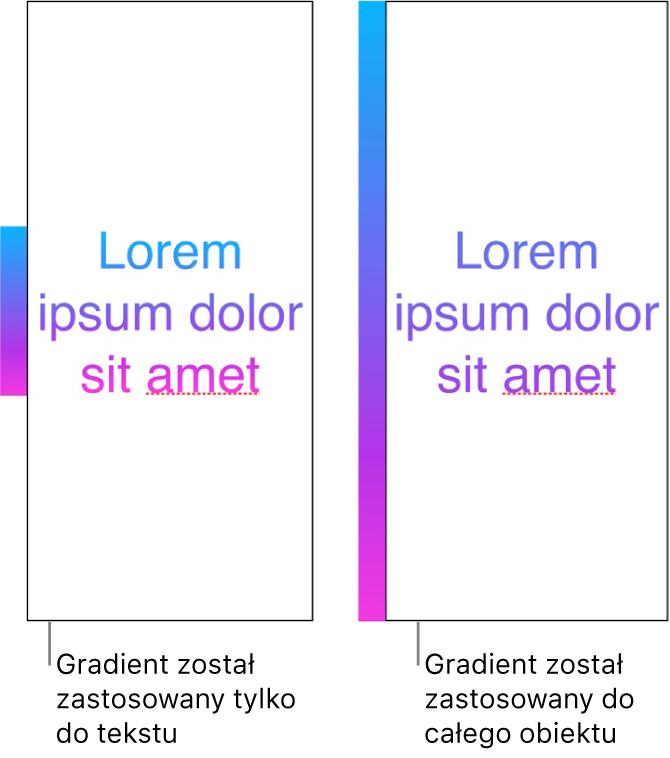 Przykłady przedstawione obok siebie. Pierwszy przykład przedstawia tekst zgradientem zastosowanym tylko do tekstu. Wtekście widoczne jest całe spektrum kolorów. Drugi przykład przedstawia tekst zgradientem zastosowanym do całego obiektu. Wtekście tym widoczny jest tylko fragment spektrum kolorów.