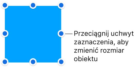 Obiekt zniebieskimi kropkami na krawędziach, służącymi do zmiany jego wielkości.