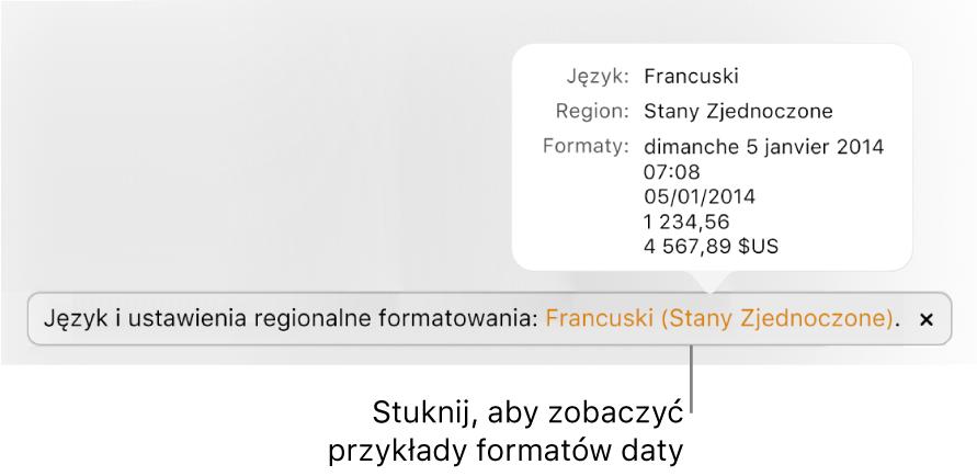 Powiadomienie oróżnicy ustawień dotyczących języka iregionu, pokazujące przykłady formatowania używanego wwybranym języku iregionie.