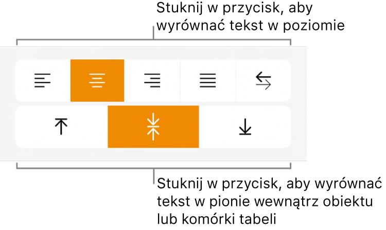 Przyciski wyrównywania tekstu wpoziomie iwpionie.