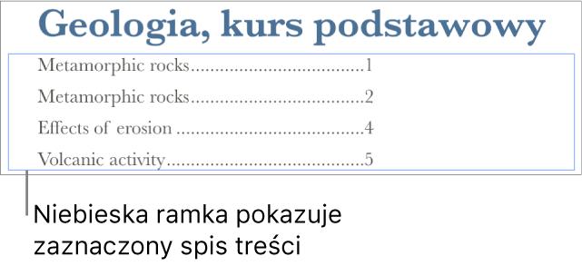 Spis treści wstawiony do dokumentu. Pozycje zawierają nagłówki wraz znumerami stron.