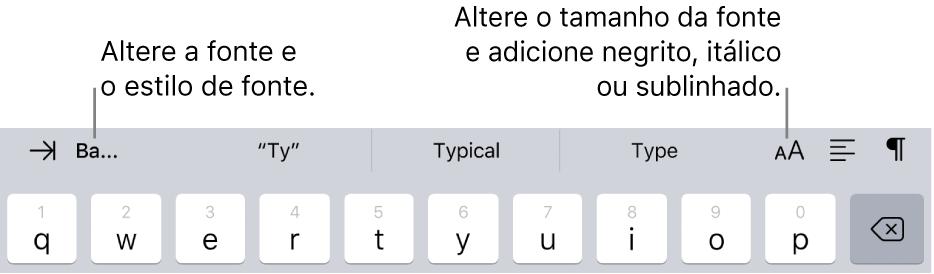 Os botões de formatação de texto acima do teclado, começando pela esquerda com recuo, fonte, três campos de sugestão de texto, tamanho da fonte, alinhamento e inserção.