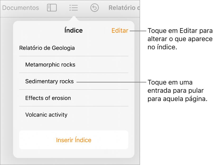 Visualização do índice, com as entradas em uma lista. O botão Editar encontra-se no canto superior direito da visualização.
