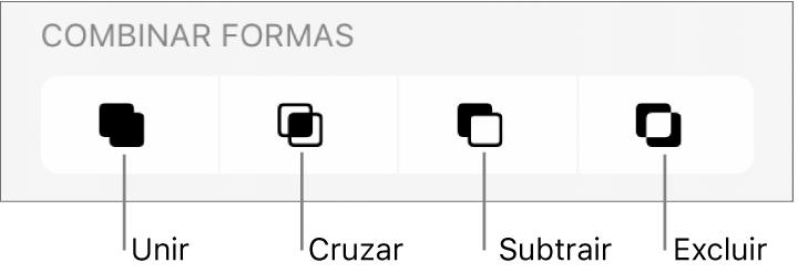 Botões Unir, Interseção, Subtrair e Excluir abaixo de Formas Combinadas.