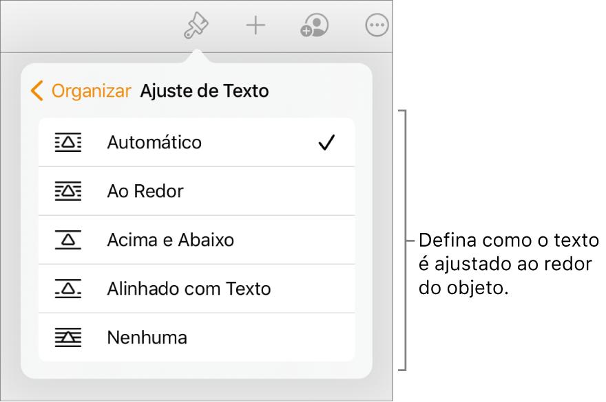 """Controles Formatar com a aba Organizar selecionada. Abaixo estão controles de """"Ajuste de Texto"""", com """"Mover para Trás/Frente"""", """"Mover com Texto"""" e """"Ajuste de Texto""""."""