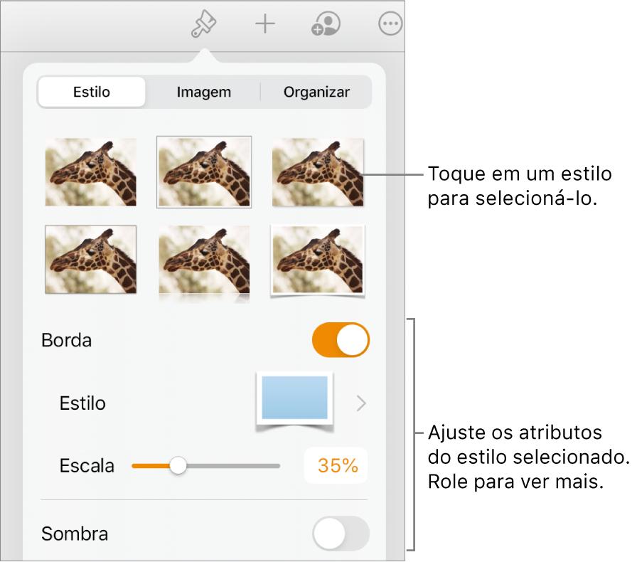 A aba Estilo do menu Formatar, com estilos de objetos na parte superior e controles abaixo para alterar borda, sombra, reflexo e opacidade.
