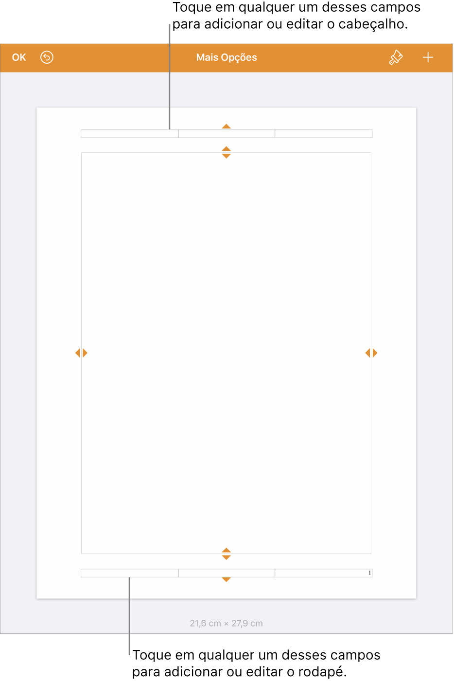 Visualização Mais Opções, com três campos na parte superior do documento para o cabeçalho e três campos na parte inferior para o rodapé.