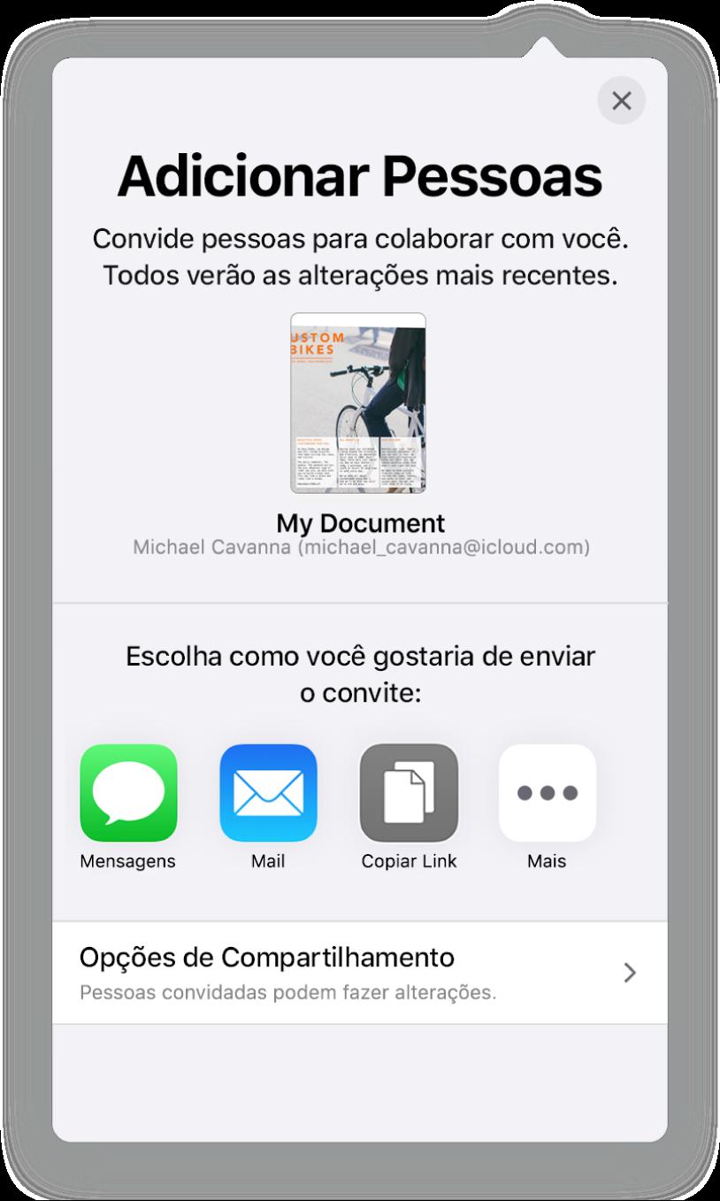Tela Adicionar Pessoas mostrando uma imagem do documento que será compartilhado. Abaixo disso, botões das formas de envio do convite, incluindo Mail, Copiar Link e Mais. Na parte inferior, o botão Opções de Compartilhamento.