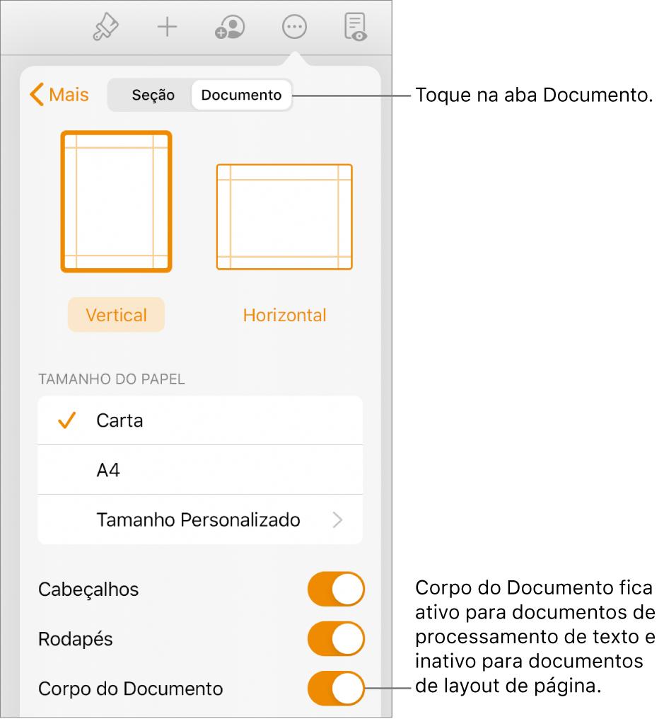 """Controles de formatação Documento, com """"Corpo do Documento"""" ativado próximo à parte inferior da tela."""