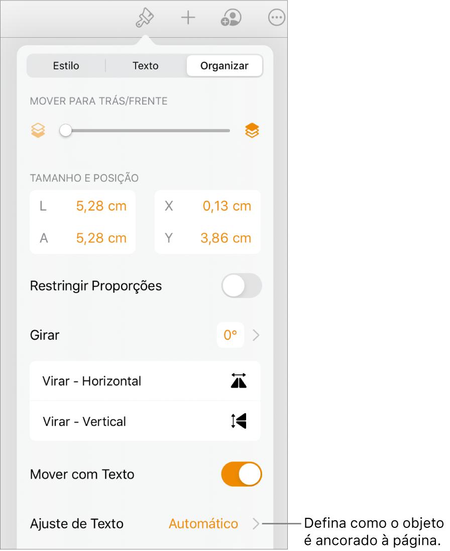 """Controles Formatar com a aba Organizar selecionada e controles de """"Mover para Trás/Frente"""", """"Mover com Texto"""" e """"Ajuste de Texto""""."""