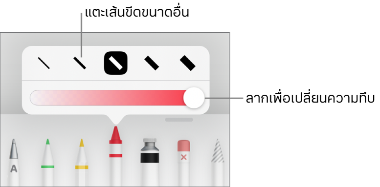 ตัวควบคุมสำหรับเลือกขนาดเส้นขีดและแถบเลื่อนสำหรับปรับความทึบ