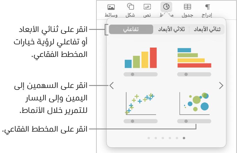 قائمة إضافة مخطط وتعرض مخططات تفاعلية، مع استدعاء خيار مخطط فقاعي.