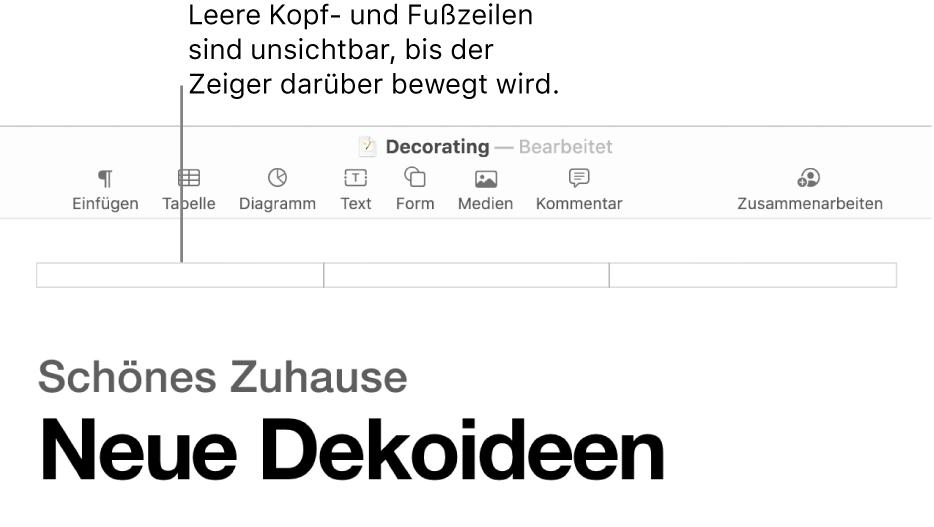 Drei Kopfzeilenfelder über dem Titel eines Dokuments.