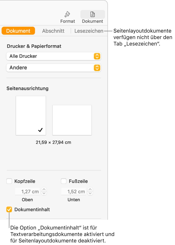 """Die Seitenleiste """"Format"""" mit den Tabs """"Dokument"""", """"Abschnitt"""" und """"Lesezeichen"""" oben. Der Tab """"Dokument"""" ist ausgewählt und eine Beschreibung zum Tab """"Lesezeichen"""" sagt, dass Seitenlayoutdokumente über keinen Tab """"Lesezeichen"""" verfügen. Das Feld """"Dokumentinhalt"""" ist markiert, was auch darauf hinweist, dass es sich um ein Textverarbeitungsdokument handelt."""