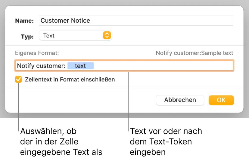 Das Fenster für ein eigenes Zellenformat mit Steuerelementen zum Auswählen eigener Textformatierung