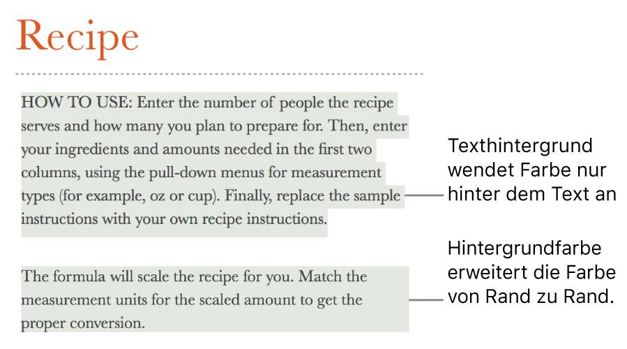 Ein Absatz, bei dem nur der Text farblich hervorgehoben ist, und ein zweiter Absatz, bei dem die farbliche Hervorhebung in einem Block von Rand zu Rand reicht.