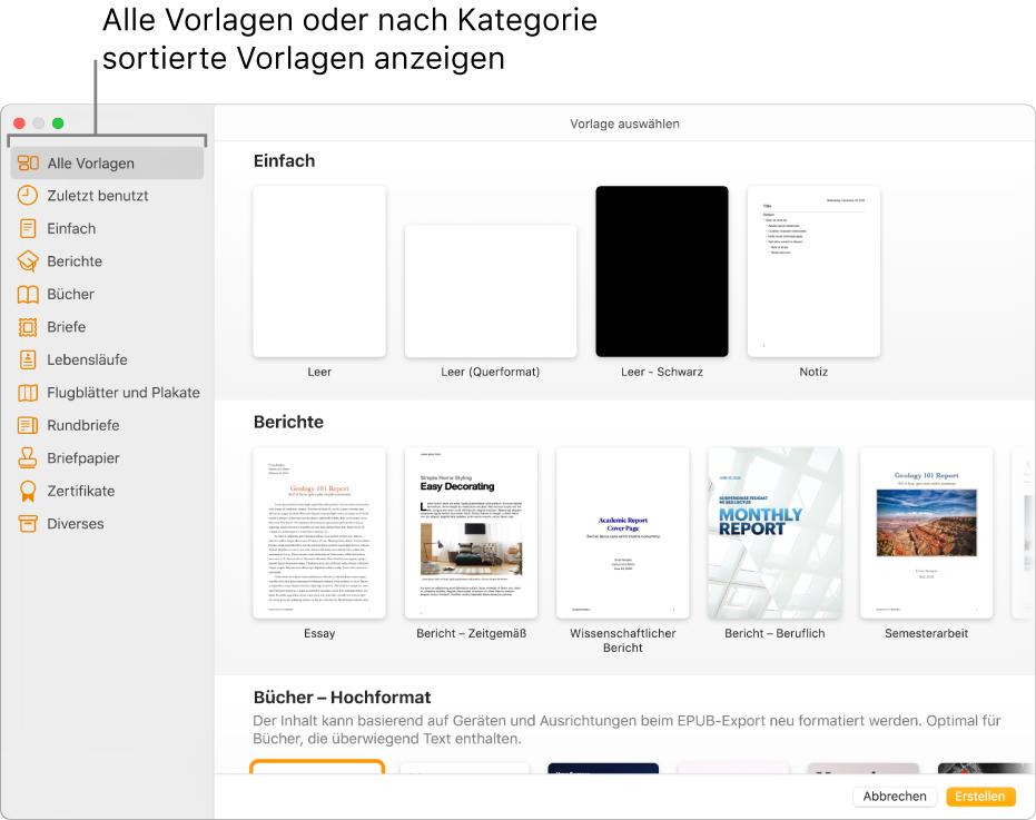 """Die Vorlagenauswahl. In einer Seitenleiste links werden die Vorlagenkategorien aufgelistet, auf die du zum Filtern der Optionen klicken kannst. Rechts befinden sich die Miniaturen der vordefinierten Vorlagen in Zeilen nach Kategorie sortiert, angefangen bei """"Neu"""" oben und gefolgt von """"Berichte"""" und """"Bücher"""" im Hochformat. Das Einblendmenü """"Sprache und Region"""" ist links unten in der Ecke und die Tasten """"Abbrechen"""" und """"Erstellen"""" befinden sich rechts unten in der Ecke."""