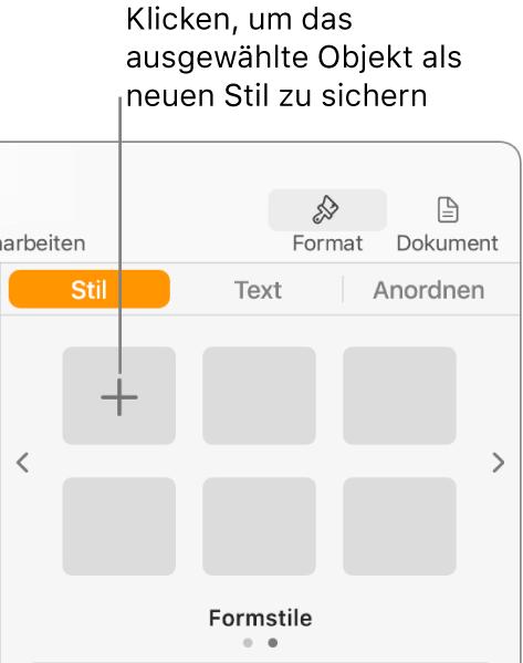 """Der Tab """"Stil"""" der Seitenleiste """"Format"""" mit der Taste """"Stil erstellen"""" oben links und fünf leeren Stilplatzhaltern"""