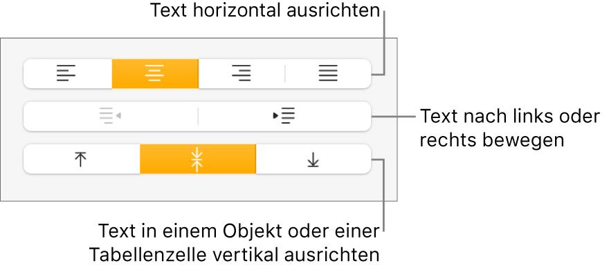 """Der Abschnitt """"Ausrichtung"""" mit Beschreibungen der Ausrichtungstasten und zu den Abstandstasten für Text"""