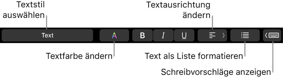 Die Touch Bar des MacBook Pro mit Steuerelementen zum Festlegen des Textstils, zum Ändern der Textfarbe und der Textausrichtung, zum Formatieren von Textelementen als Liste und zum Anzeigen von Wortvorschlägen.