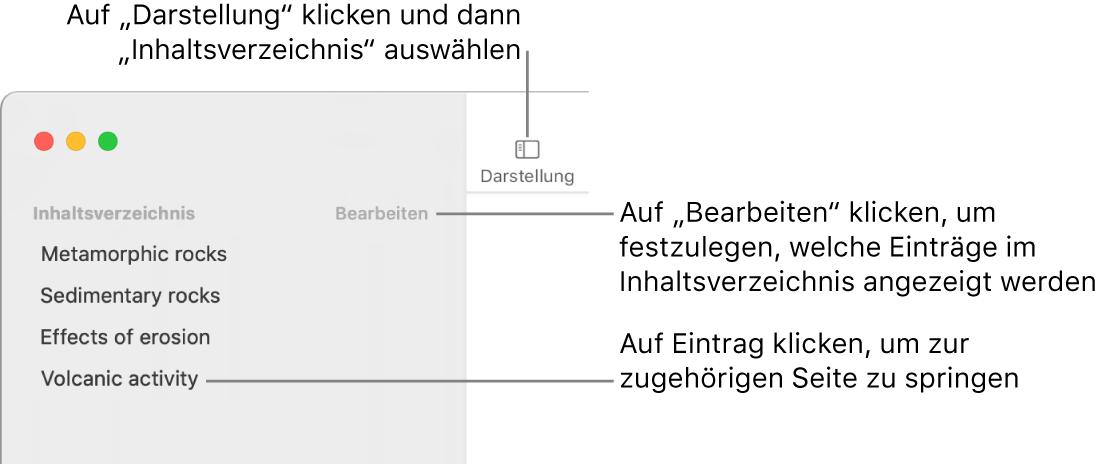 """Das Inhaltsverzeichnis links im Fenster """"Pages"""" mit der Taste """"Bearbeiten"""" in der oberen rechten Ecke der Seitenleiste und dem Inhaltsverzeichnis in Listenform. Die Taste """"Darstellung"""" befindet sich über der Seitenleiste in der linken oberen Ecke der Pages-Symbolleiste."""