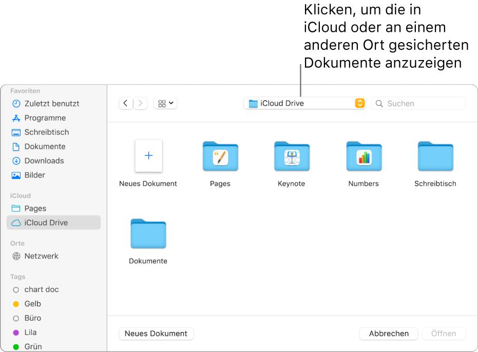 """Das Dialogfenster """"Öffnen"""" mit der geöffneten Seitenleiste links und dem Einblendmenü oben, in dem iCloud Drive ausgewählt ist. Im Dialogfenster werden die Ordner für Keynote, Numbers und Pages und die Taste """"Neues Dokument"""" angezeigt."""