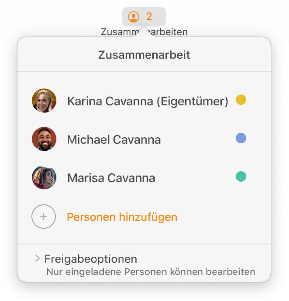 Das Menü für die Zusammenarbeit mit den Namen von Personen, die gemeinsam ein Dokument bearbeiten. Optionen zum Teilen befinden sich unter den Namen.