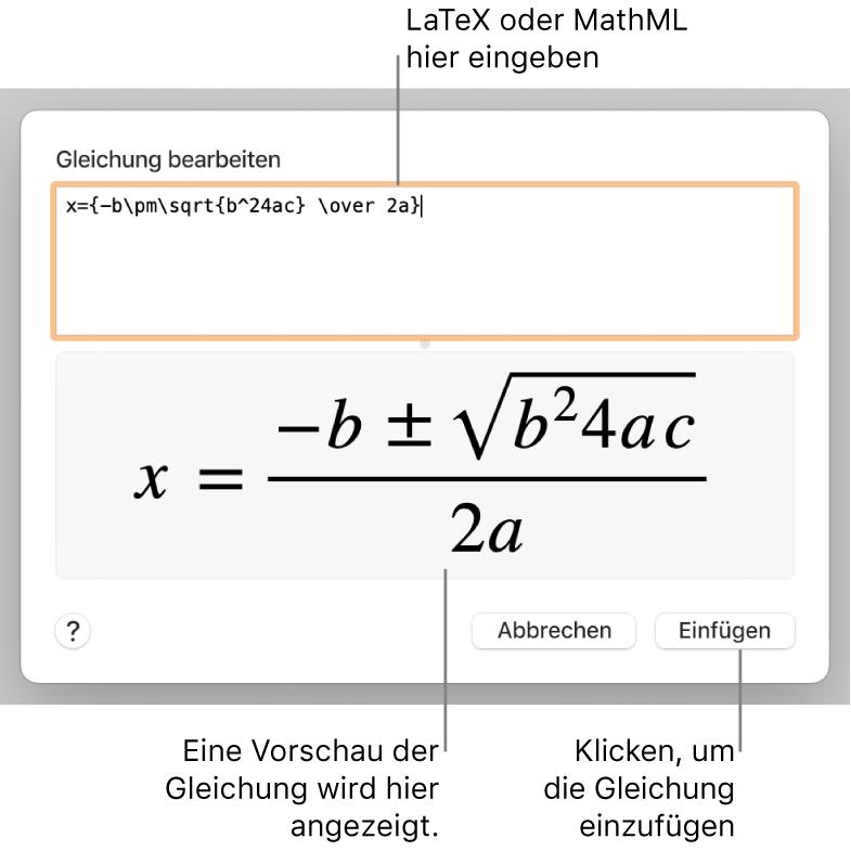 """Im Dialogfenster """"Gleichung bearbeiten"""" wird die quadratische Formel angezeigt, die mit LaTeX in das Feld """"Gleichung bearbeiten"""" geschrieben wurde, darunter wird eine Vorschau der Formel angezeigt."""
