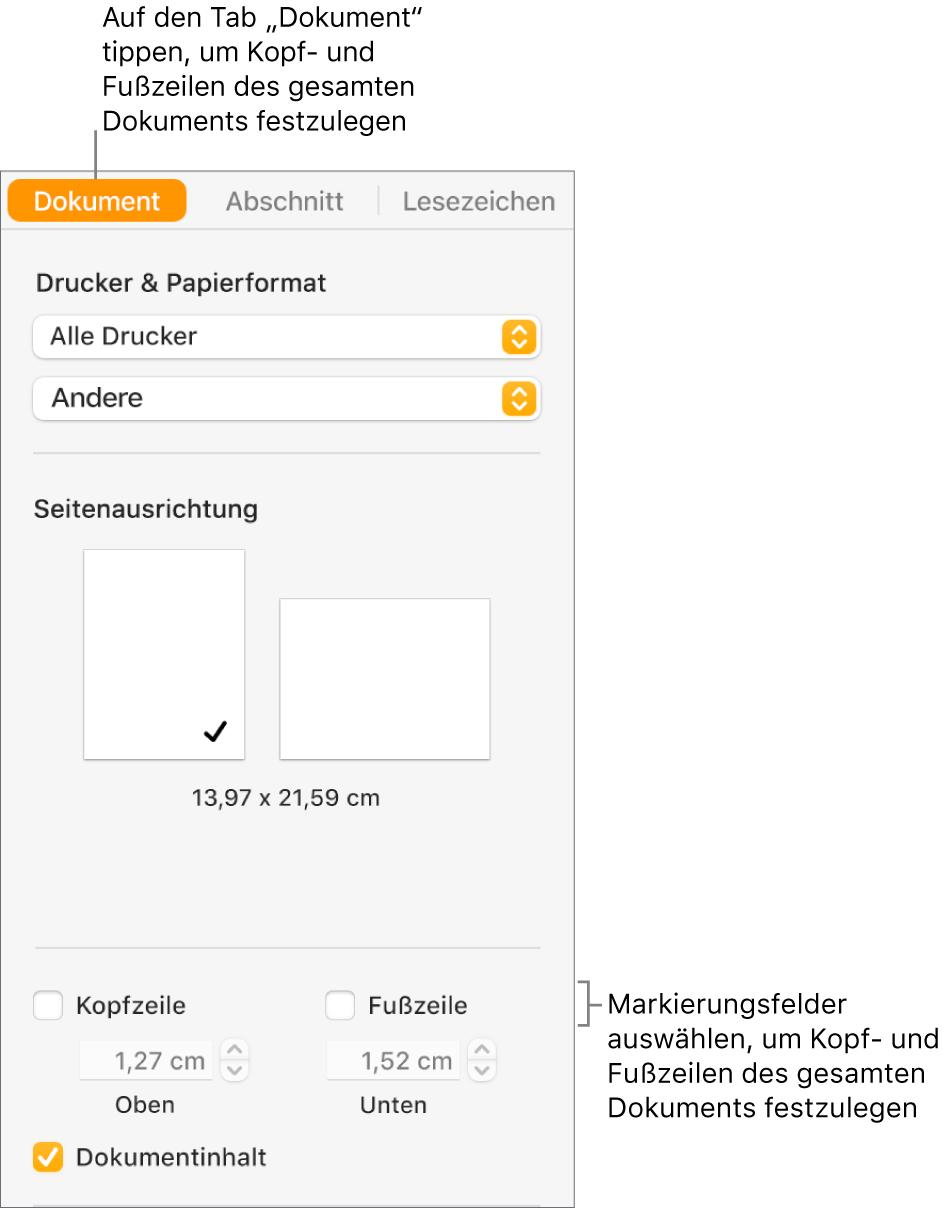 """Oben in der Seitenleiste """"Dokument"""" ist der Tab """"Dokument"""" ausgewählt. Unter den Feldern für Kopfzeilen und Fußzeilen befinden sich Pfeile, mit denen sich der Abstand der Kopf- und Fußzeilen vom oberen und unteren Rand der Seite ändern lässt."""
