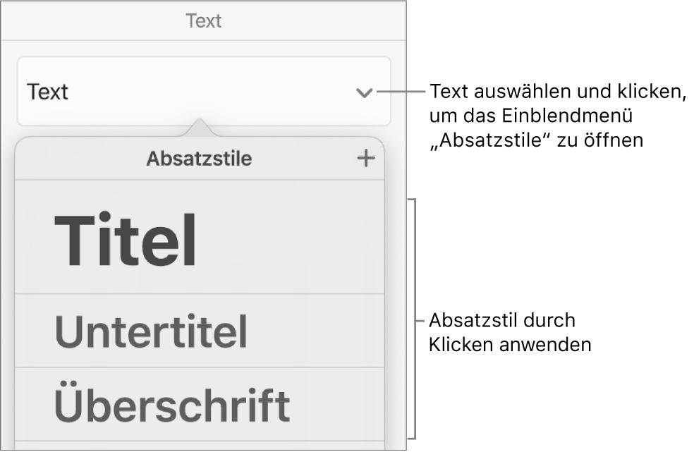 """Das Menü """"Absatzstile"""""""