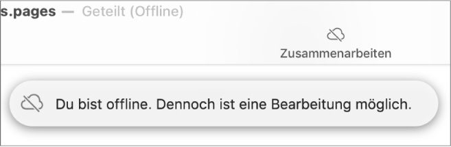 Ein Hinweis auf dem Bildschirm besagt, dass du offline bist, aber weiterhin arbeiten kannst.