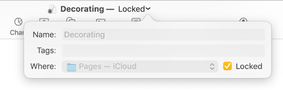 Pop-up for locking or unlocking a document.