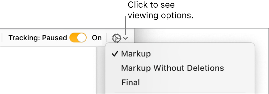 The review options menu showing Markup, Markup Without Deletions and Final.