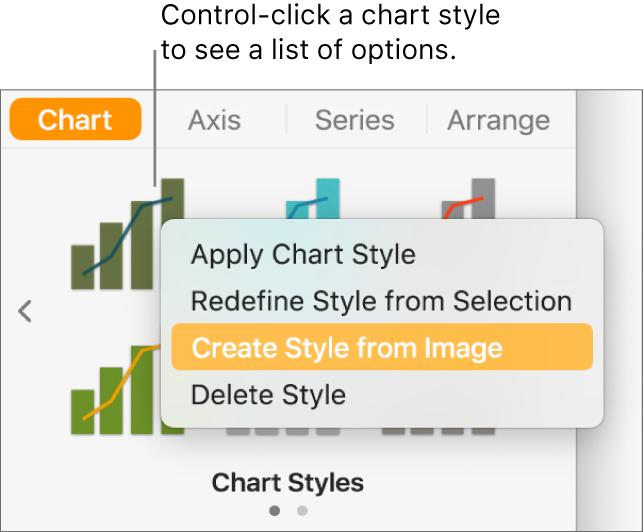 The chart style shortcut menu.